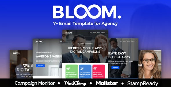 BLOOM - Multipurpose Agency Email Template With StampReady, Mailster, Mailchimp, Campaign Monitor