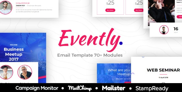 Evently - Responsive Email For Event/Coference/Organizer - StampReady Builder + Mailster & Mailchimp - Newsletters Email Templates