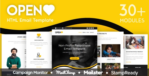 Open Heart - Responsive Email for Non Profit 30+ Modules - StampReady Builder + Mailster & Mailchimp - Newsletters Email Templates