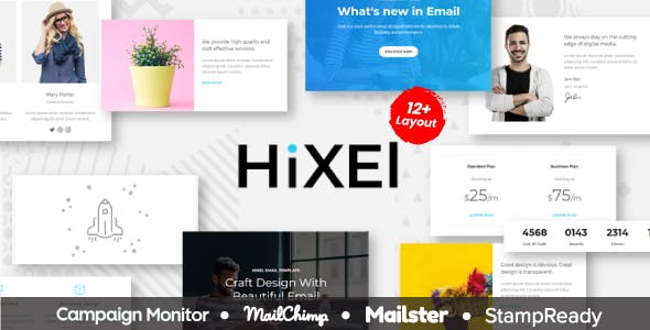 Hixel - Responsive Email Template for Agency 70+ Modules - StampReady Builder + Mailster & Mailchimp