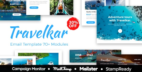 Travelkar - Responsive Email for Travel 70+ Modules - StampReady Builder + Mailster & Mailchimp - Newsletters Email Templates