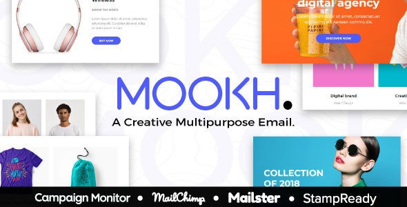 Mookh - Creative Multipurpose Email for Agency - StampReady Builder + Mailster & Mailchimp Editor - Newsletters Email Templates
