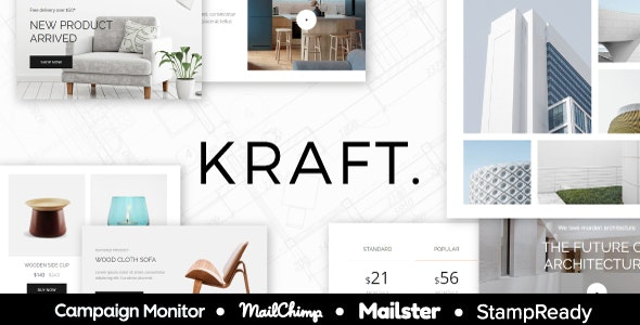 Kraft - Email Template for Interior Design and Architecture - StampReady + Mailster & Mailchimp - Newsletters Email Templates
