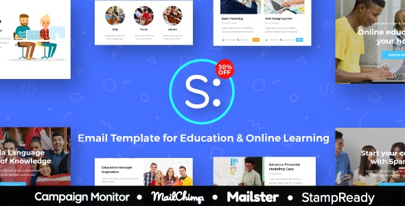 Spanda - Education & Online Learning Email Template - StampReady Builder + Mailster & Mailchimp - Newsletters Email Templates