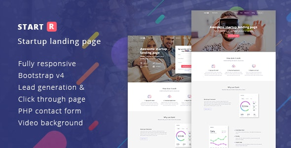 Startr - Multipurpose Startup Landing Page - Landing Pages Marketing