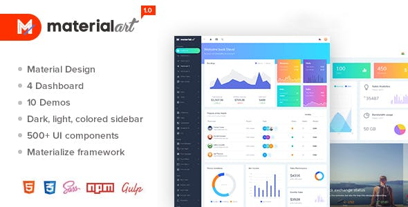 Materialart Powerful Material Admin Template by MARUTI