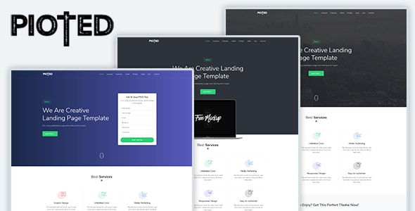 Pioted - Responsive Bootstrap 4 Landing Template - Landing Pages Marketing