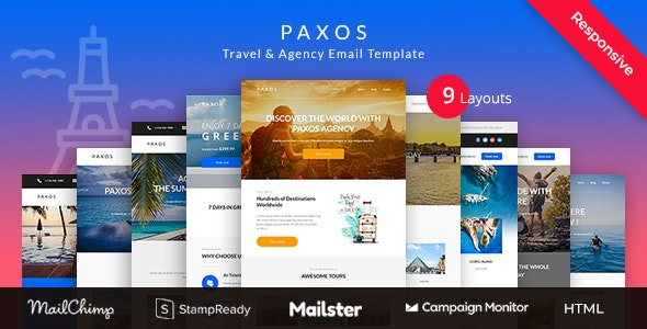 Paxos - Responsive Travel Agency Email Newsletter Template Stampready Builder + Mailchimp + Mailster - Newsletters Email Templates