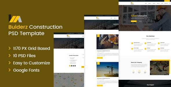 Builderz - Construction PSD Template - Photoshop UI Templates