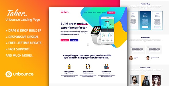 Taher – Responsive Unbounce Landing Page Template - Unbounce Landing Pages Marketing