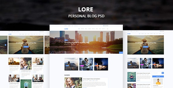 LORE Personal PSD Template - Personal Photoshop