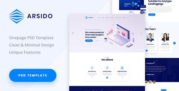 Arsido - One Page Creative Agency PSD Template - Creative Photoshop