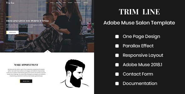 Download TRIM LINE - Adobe Muse Salon Template