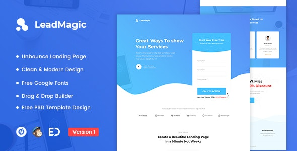 LeadMagic - Lead Generation Unbounce Landing Page Template - Unbounce Landing Pages Marketing