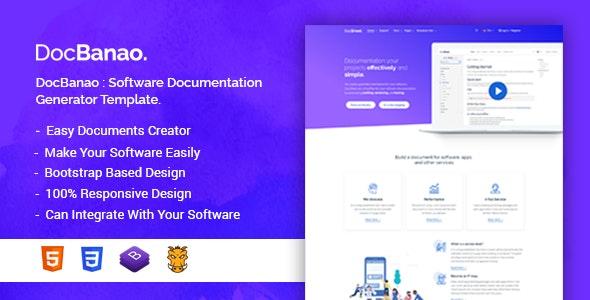 DocBanao - Software Documentation Generator HTML Template - Technology Site Templates