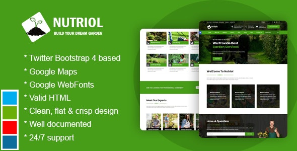 Nutriol - Garden  and Landscaping Bootstrap4 HTML5 Responsive Template - Business Corporate