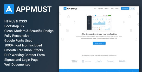 Appmust - Responsive App Landing Page Template - Apps Technology