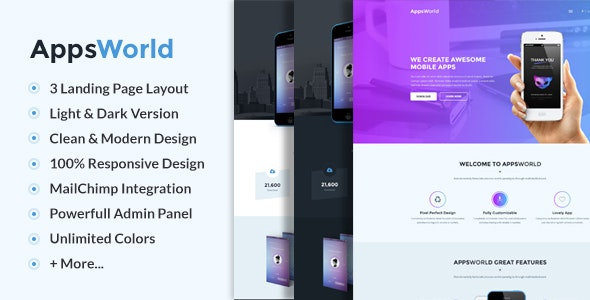 AppsWorld - Responsive App Landing Page Theme - Marketing Corporate