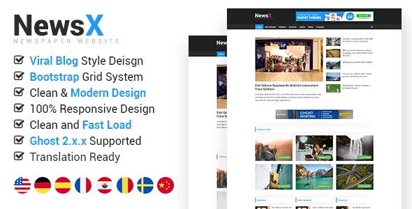NewsX - Responsive News, Magazine, Viral Blog Ghost Theme - Ghost Themes Blogging
