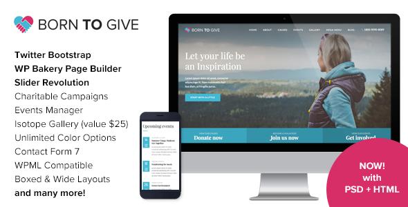 Born To Give - Charity Crowdfunding Responsive WordPress Theme - Charity Nonprofit