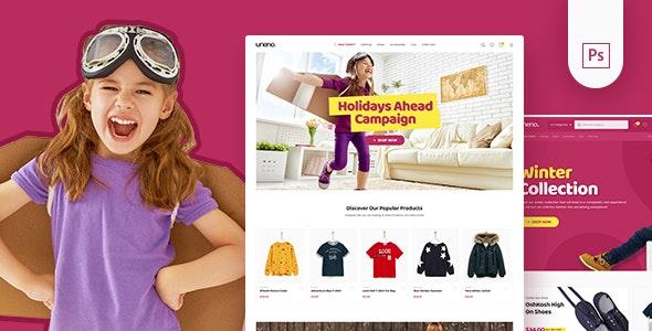 Uneno - Kids Fashion eCommerce PSD Template - Shopping Retail