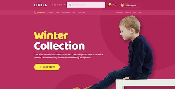 Uneno - Kids Fashion eCommerce PSD Template