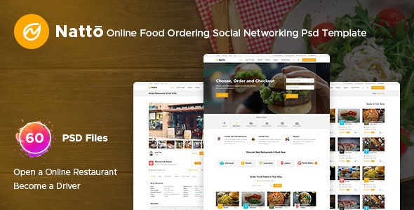Natto - Online Food Ordering Social Networking Psd Template - Food Retail
