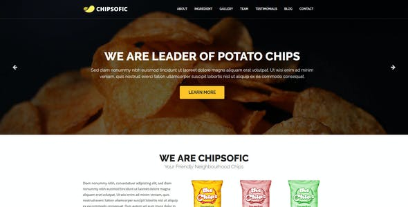 Chipsofic - One Page HTML Template for Chips, Fries, Restaurant and Food Product Seller