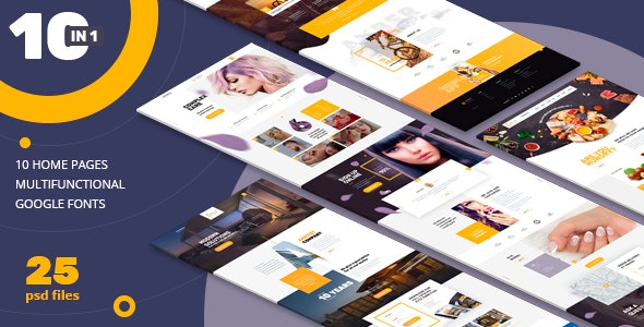 AMBER | 10 n 1| Universal PSD-Template - Photoshop UI Templates