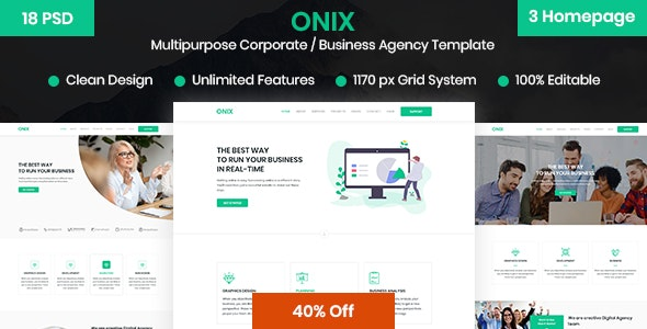 ONIX – Multipurpose Corporate/Business Agency PSD Template - Business Corporate