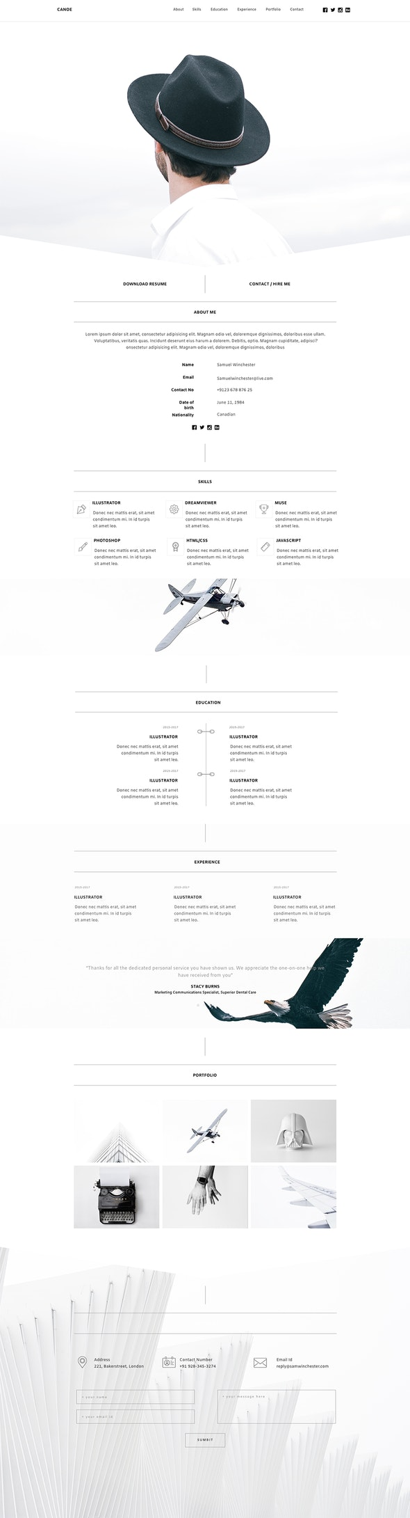 Canoe - CV Resume Personal Muse Template - Personal Muse Templates