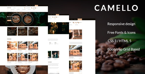 Camello - HTML Template for coffee beans online store - Food Retail