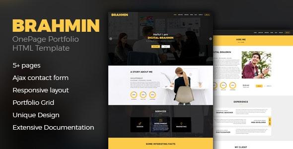 Brahmin – Responsive One Page Portfolio template - Portfolio Creative