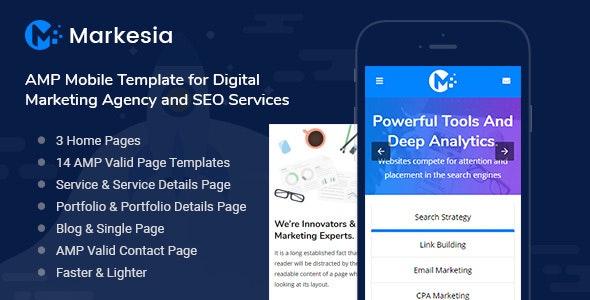 Markesia - AMP Mobile Template for SEO & Digital Marketing Agency - Mobile Site Templates