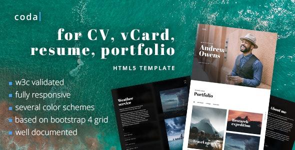 coda - CV, vCard, Resume, Portfolio HTML Template - Resume / CV Specialty Pages