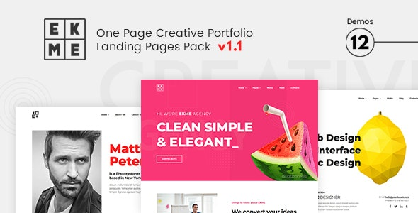 EKME - One Page Creative Portfolio Landing Pages Pack - Landing Pages Marketing