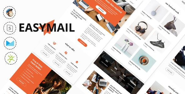 Easymail - Modern and Responsive Business Email Newsletter + Online Builder + MailChimp Ready - Email Templates Marketing