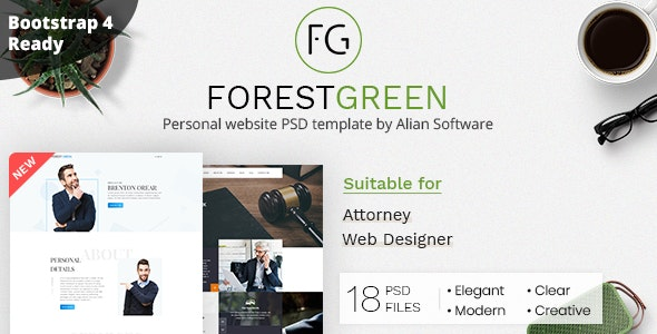 Forestgreen - Personal Website PSD Template - Personal Photoshop