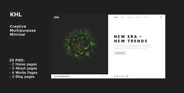 KHL - Modern, Multipurpose, Minimal PSD Template - Portfolio Creative