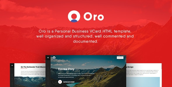 Oro - Personal Business vCard HTML Template - Virtual Business Card Personal