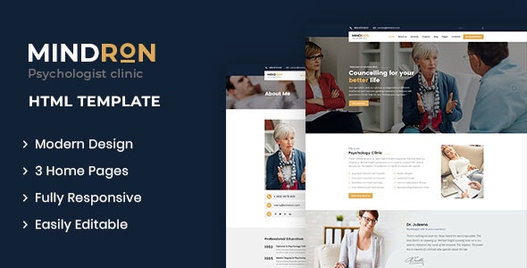 Mindron - Psychology & Counseling HTML Template - Health & Beauty Retail