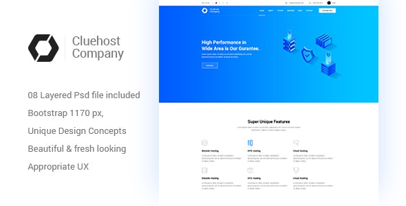 ClueHost - Creative Hosting Multipage PSD Template - Hosting Technology