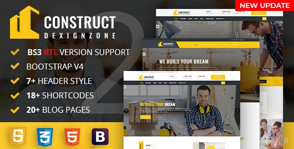 ConstructZilla : Construction, Renovation & Building Bootstrap 4 Template With RTL Ready - Corporate Site Templates