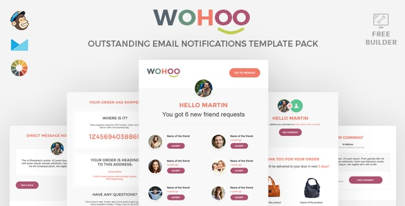 WOHOO - Beautiful Email Notifications Template - 15 Modules - Mailchimp & CampaignMoniter - Builder - Miscellaneous Email Templates