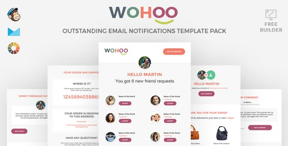 WOHOO - Beautiful Email Notifications Template - 15 Modules - Mailchimp & CampaignMoniter - Builder