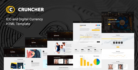 Cruncher - ICO and Cryptocurrency HTML Template - Business Corporate