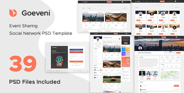 Goeveni - Event Sharing Social Network Psd Template - Events Entertainment