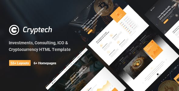 Cryptech - Responsive Bitcoin, Cryptocurrency and Investments HTML Template