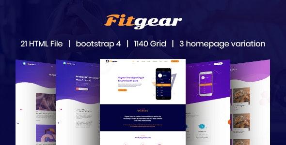 Fitgear App Landing HTML5 Template - Software Technology
