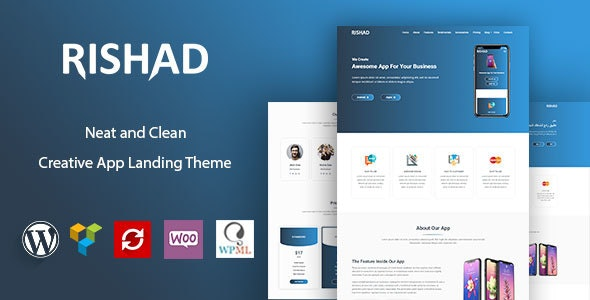 Rishad - App Landing WordPress Theme - Software Technology